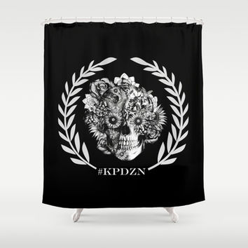 Screwed and tattooed Ohm Skull Shower Curtain by Kristy Patterson Design