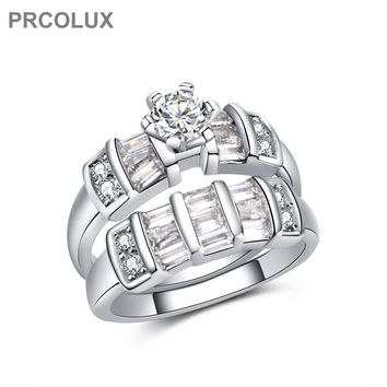 PRCOLUX Dazzling Female Geometric Ring Set 925 Sterling Silver jewelry White CZ Wedding Engagement Rings For Women Gifts QFA45