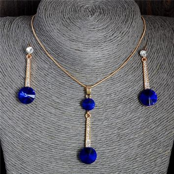 2017 Gold Color Pendants & Necklace Stud Earrings Blue Natural Stone Cubic Zirconia Crystal Romantic Bridal Jewelry Sets