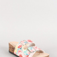 Qupid Floral Double Buckle Wedge Footbed Sandal