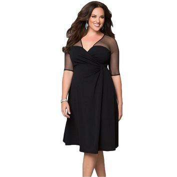 Black V Neck Half Sleeve Plus Size Dress for Women Mesh Patchwork Big Size Womens Dress Female Office Dress Work Wear Vestidos