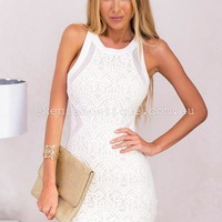 Higher love Bodycon Dress (White) | Xenia Boutique | Women's fashion for Less - Fast Shipping
