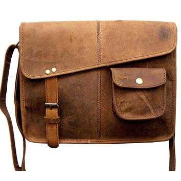 IN INDIA Designer Buffalo Hunter Leather Laptop Messenger Bag Office Briefcase College Bag - Fits Laptop Upto 13.3 Inches