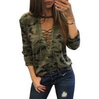 WOMEN CAMOUFLAGE BLOUSE clothing Camo Halter Top Sexy Bandage Long Sleeve Shirt Ladies Newest Casual Tracksuits Female Sudaderast