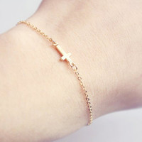 Gold Sideways Cross Bracelet, Gift for Her, Bridesmaids Gift