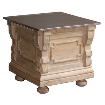 AFD Home Restored Brass Top End Table