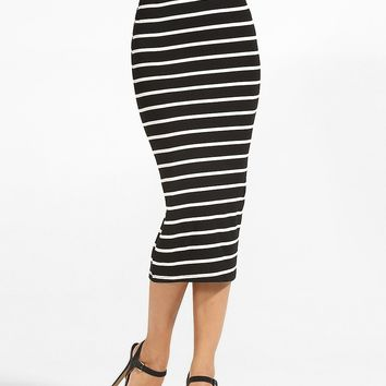Streetstyle  Casual Elastic Waist Striped Mid-rise Maxi-skirt