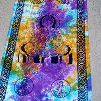 """Hippie/Indian Tapestry/Wall/Curtain Tie Dye Buddha 44""""x 88"""" CT04TD"""