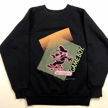 Nintendo Game Boy Neon Sweatshirt S XS '89