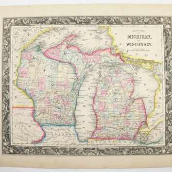 Antique Michigan Map Vintage Map of Wisconsin Upper Peninsula Great Lakes Superior 1860 Original Mitchell Map Genealogy Special Gift Idea