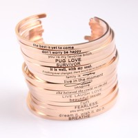 2017 Rose Gold Color Stainless Steel Engraved Positive Inspirational Quote Hand Stamped Cuff Mantra Bracelet Bangle for Women