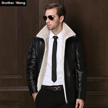 Brother Wang Brand 2017 New Winter Men's Leather Jacket Casual White Duck Down Jacket Fur One Warm Long Coat Brand Clothes
