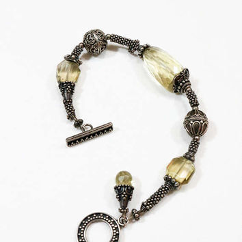 Sterling Beaded Bracelet, Citrine Crystals, Artisan Bracelet, Balinese Style, Etruscan Revival, Oxidized Sterling, 1990s, Vintage Jewelry