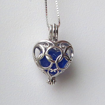 Blue Sea Glass Sterling Silver Heart Flower Locket by Wave of LIfe