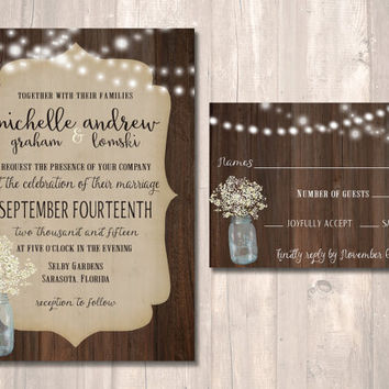 Rustic Wedding Invitation Set, Mason Jar with Baby's Breath Invitation - PRINTABLE - Digital Files