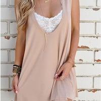 Beige Deep Plunge Sleeveless Shift Dress