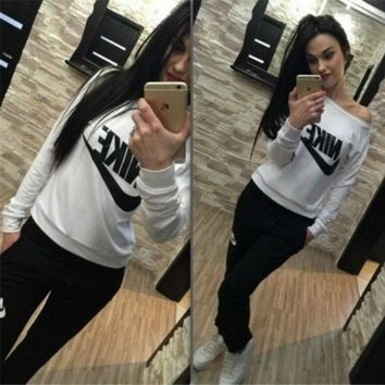 DCCK6HW NIKE' Fashion Casual Letter Print Round Neck Long Sleeve Set Two-Piece Sportswear