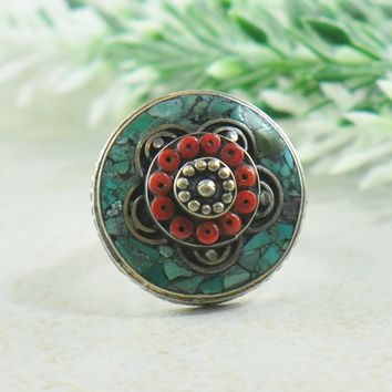Tenzin Turquoise and Coral Mosaic Tibetan Silver Ring