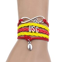 """""""USC""""Red+Yellow Multi-Strands Infinity Silver Color Charm Leather Bracelet Bangle For Women Fashion Jewelry"""