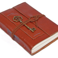 Light Brown Leather Wrap Journal with Key Charm Bookmark
