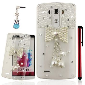 Ancerson White Pearls 3D Handmade Luxury Shining Glitter Crystal Diamond Rhinestones Hard Back Case Cover for LG G3 D855 Free with a Red Stylus Touchscreen Pen, a 3.5mm Universal Crystal Diamond Rhinestones Bling Lovely Silvery Flower Blue Panda Pendant Du