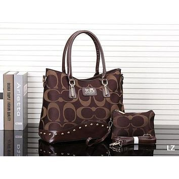 "Hot Sale ""COACH"" New Popular Leather Tote Handbag Shoulder Bag Two Piece Coffee I-MYJSY-BB"
