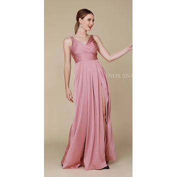 Ruched Satin V-Neck Long Evening Gown Front Slit Mauve