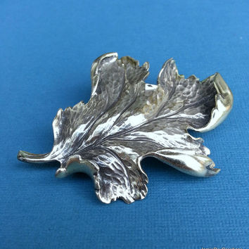 Vintage Napier Brooch, 925 Sterling Silver Oak Leaf Brooch Pin, Designer Brooch Silver Fall Autumn Leaf Pin, Signed Napier Scarf Pin Hat Pin