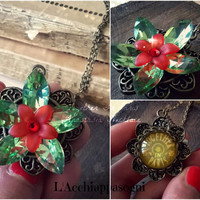 Anastasia Together In Paris Necklace - Anastasia Inspired Flower Necklace - Once Upon a Dicember - Romanov - Bronze - glass - green