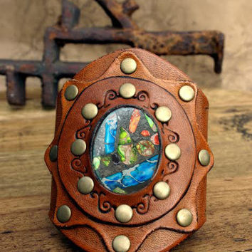 Cowgirl Style Leather Cuff, Tooled and Stamped Leather with Sea Sediment Gemstone, Western Boho Leather Jewelry