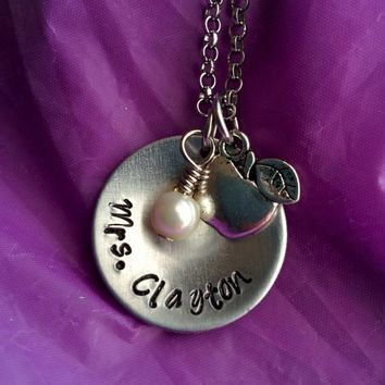 Personalized Teacher Necklace - Teacher Gift - Teacher Appreciation - Teacher Jewelry - Custom Teacher Necklace - Gift for Teacher