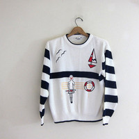 vintage nautical sweater. sailboat and life preserver applique. white spring sweater.