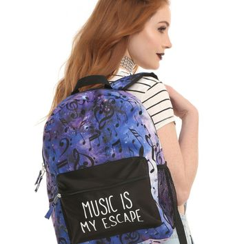 Licensed cool Music is My Escape Galaxy Purple Allover Music Notes Backpack School Book Bag