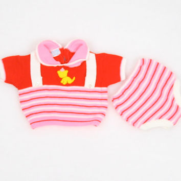 Vintage Baby Girl Outfit Sweater Shirt Top Bloomers Diaper Cover Pink Red Striped Yellow Cat Suspenders 2 Piece Outfit Newborn 3m 3 months