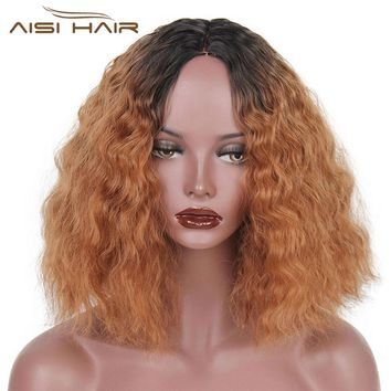 I's a wig   Ombre Brown Blonde Water Wave Synthetic Heat Resistant Full  Wigs Short Hair Party Dress Halloween