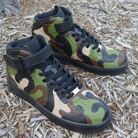 Camo Nike Air Force 1 Mids - Painted Camouflage Pattern