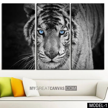Large Wall Art Canvas Blue Eyed Tiger Print + Tiger Art Canvas Print + Ready to Hang + Great Gift + 2 Different Model