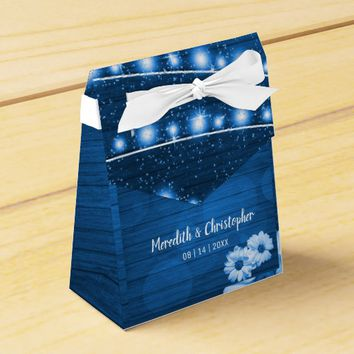 Blue Rustic Wood String Lights Daisy Favor Box