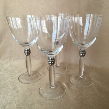 Vintage Wine Glasses, Art Deco Style, Crystal Wine Glasses, Platinum Trim, Wedding Glassware, Minimalist Design, Tall, Sophisticated Chic