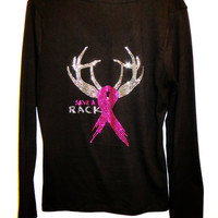 Absolutely Stunning Fuschia Rhinestone Save A Rack Browning Deer Black V Neck Long Sleeve Shirt Size S,M,L