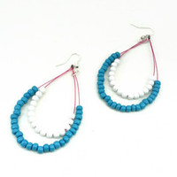 Beaded Teardrop Earrings - Blue and White Bead Dangle Drop Earrings for Her - OOAK