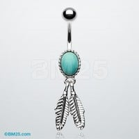 Turquoise Vintage Feathers Belly Button Ring