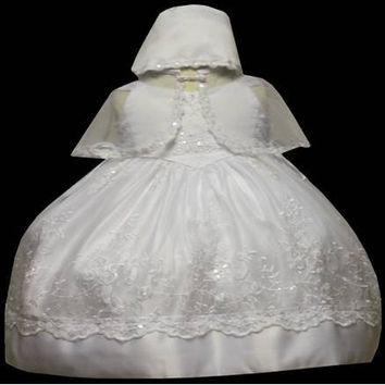 Baby Girl Toddler Christening Baptism Dress Gowns outfit set with bonnet /XS/S/M/L/XL/0-3M/3-6M/6-12M/12-18M/18-24M/XSMALL/SMALL/MEDIUM/LARGE/XL/2t/#5407