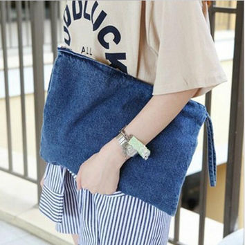 New Women Bag Denim Canvas Day Clutches Bolsa Lady Casual Handbag Feminina Wristlets Blue Color Bolsas Summer Spring