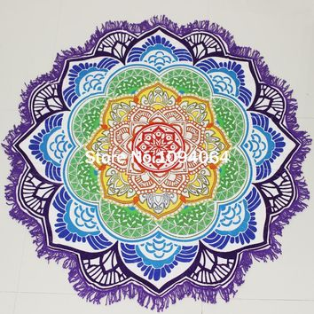 2016 Summer Indian Mandala Tapestry Round Beach Towel Large Lotus Printing Beach Cover Up Women Shawl  Blanket 150Cm