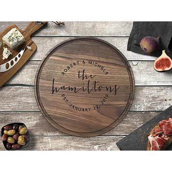 Personalized Engraved Round Cutting Board, Walnut Wood - CB02