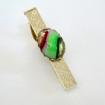 Vintage Tie Clip Striped Candy Cabochon Art Glass Scalloped Frame