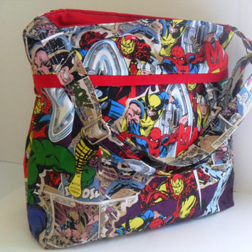 Large  Bag  Made of Marvel Comics / Super Hero Fabric - Adjustable Strap