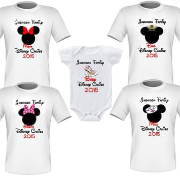 Personalized Set of 4 Disney Cruise Family Shirts T-shirts (plus a baby) Mickey Minnie Very Nice!