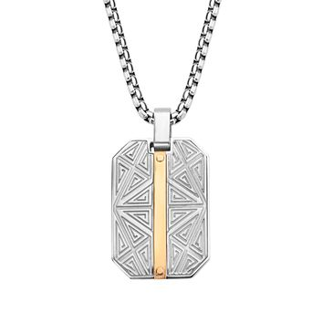 316L Stainless Steel 2Tone Rose Gold IP Labyrinthine Dog Tag Men's Necklace 22""